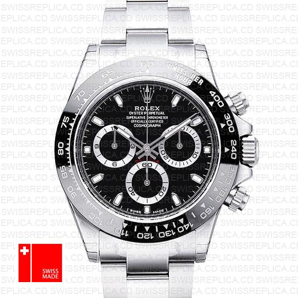 Rolex Daytona Black Dial Ceramic Bezel | Rolex White Gold Replica Watch