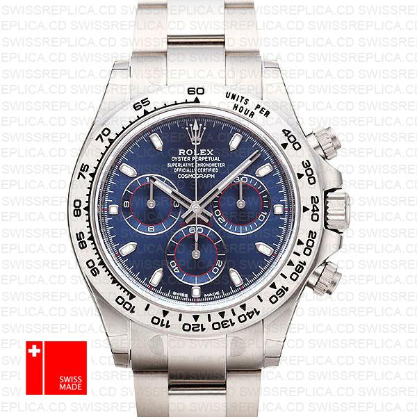 Rolex Cosmograph Daytona Blue Dial | White Gold Swiss Replica Watch