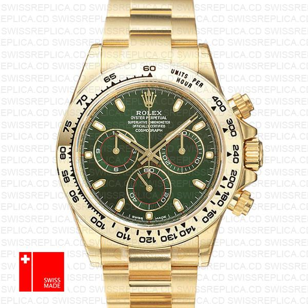 Rolex Cosmograph Daytona Green Dial | Yellow Gold Swiss Replica Watch
