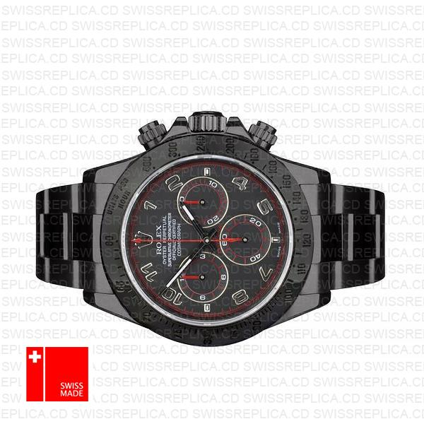 Rolex Daytona Black Dlc Arabic Red 116509