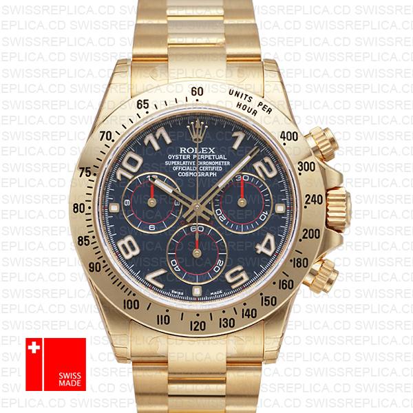 Rolex Cosmograph Daytona Blue Dial 116528 | Yellow Gold Replica Watch