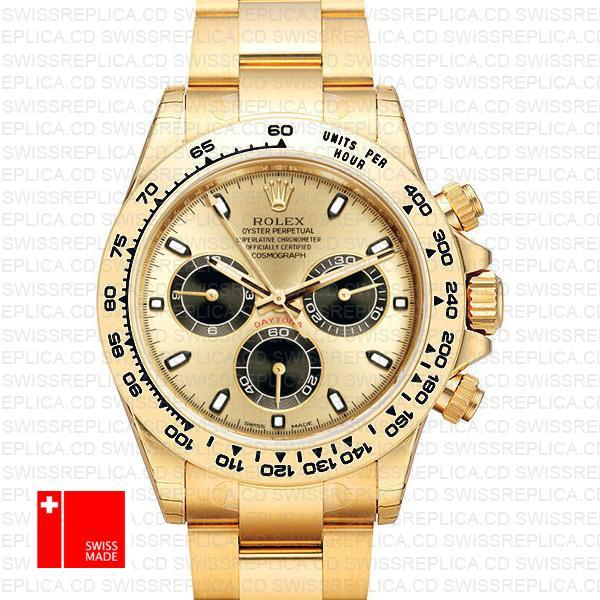 Rolex Cosmograph Daytona 40mm Panda Gold Dial | Gold Replica Watch