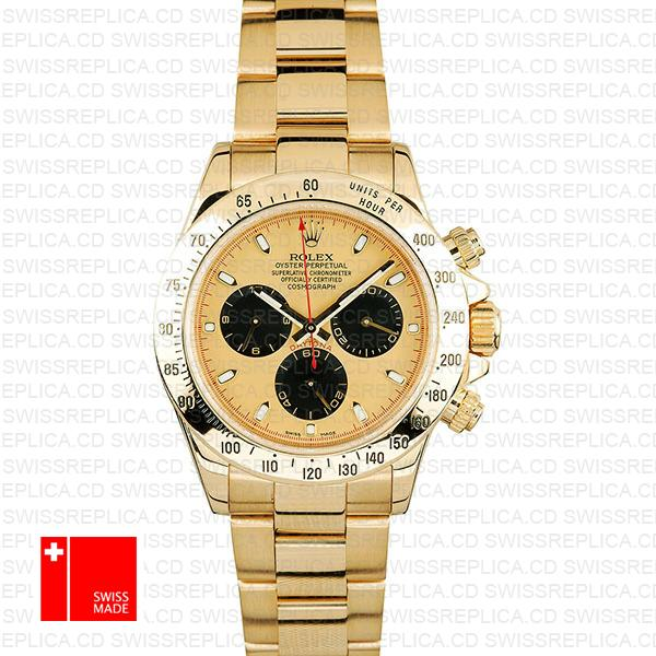 Rolex Daytona Gold Gold Dial Black Subdials Swiss Replica 40mm 116528
