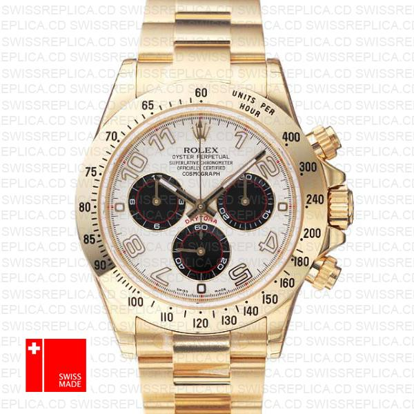 Rolex Daytona Yellow Gold White Panda Dial | Gold Swiss Replica Watch