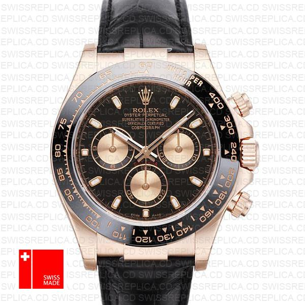 Rolex Daytona Leather Rose Gold Black Pink Ceramic 40mm 116515 Swiss Replica