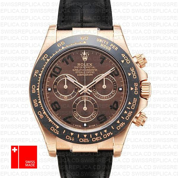 Rolex Cosmograph Daytona Rose Gold Leather Strap | Rolex Swiss Watch
