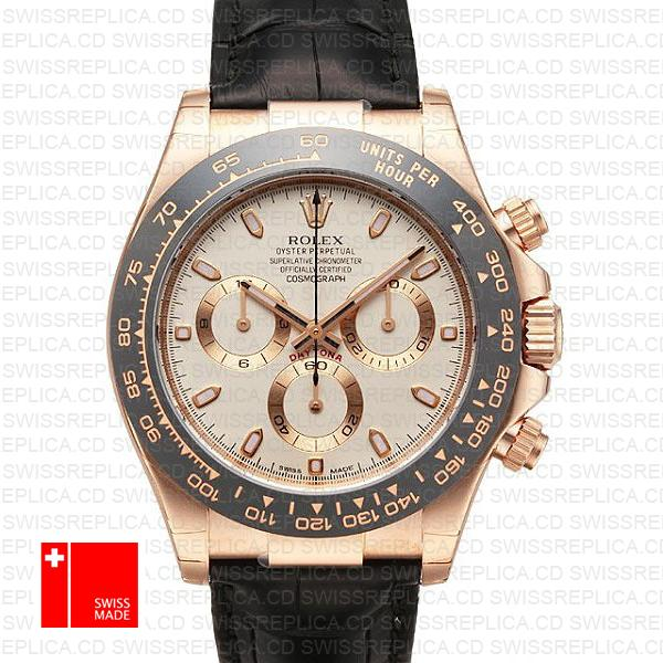 Rolex Daytona Leather Rose Gold Ivory Ceramic 40mm
