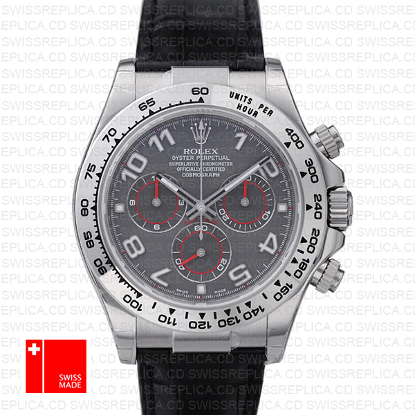 Rolex Daytona Leather Ss White Gold Grey Arabic 40mm 116519