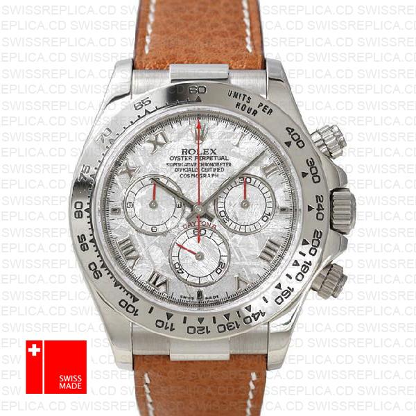 Rolex Daytona Leather Ss White Gold Meteorite 40mm 116519
