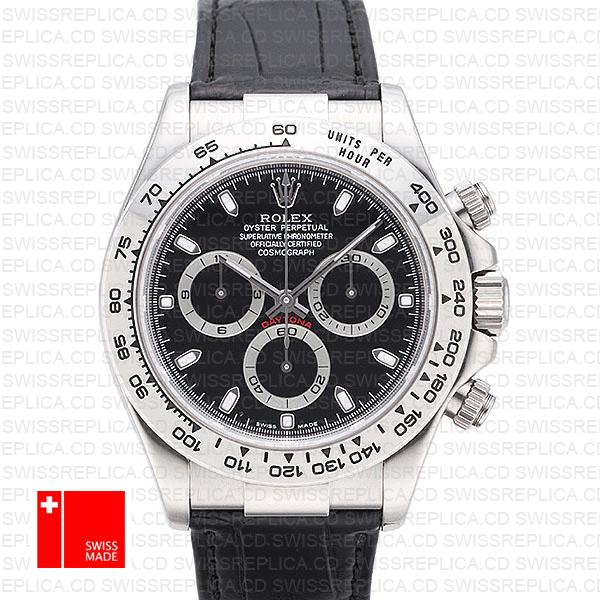 Rolex Cosmograph Daytona Leather Strap Black Dial | Rolex 40mm Watch