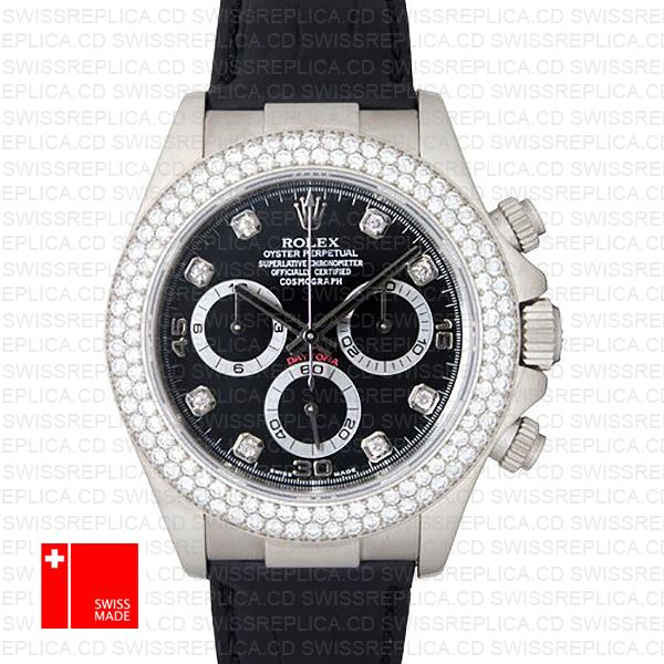 Rolex Daytona Leather White Gold Black Diamond Markers Bezel 116519 Swiss Replica 40mm 0