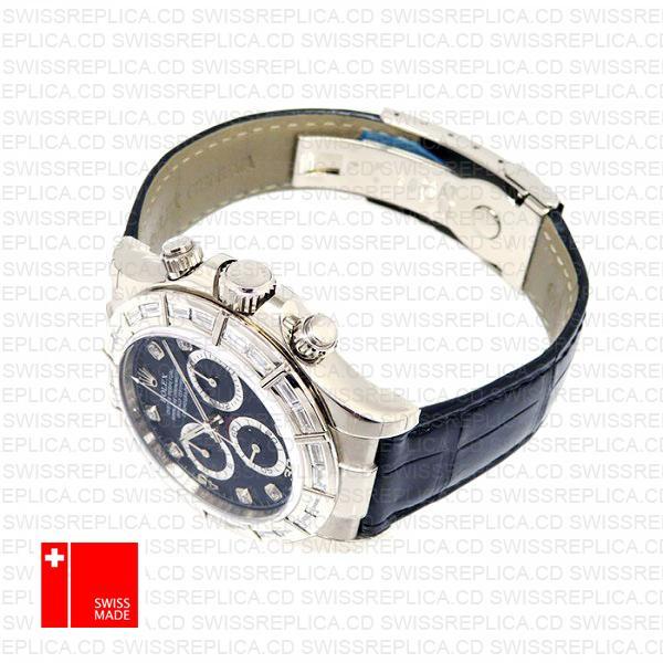 Rolex Daytona Leather White Gold Black Diamond Markers Bezel 116519 Swiss Replica 40mm