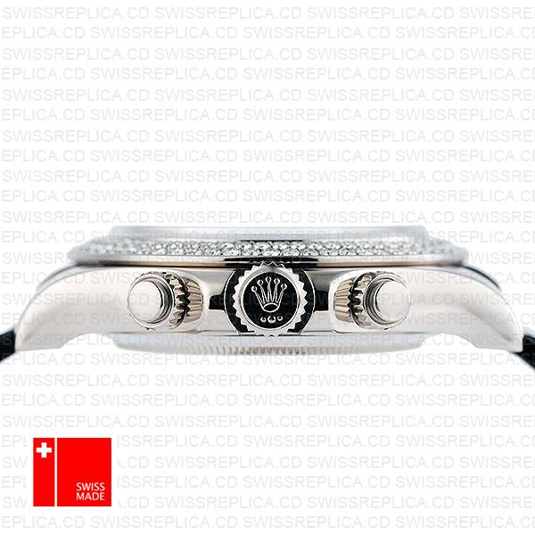 Rolex Daytona Leather White Gold Black Diamond Markers Bezel 116519 Swiss Replica 40mm 6
