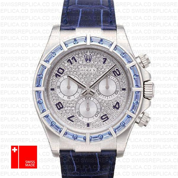 Rolex Daytona Leather White Gold Blue Diamonds 40mm 116589 Swiss Replica