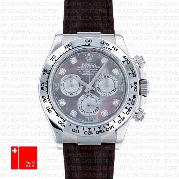 Rolex Daytona Leather White Gold Mop Black Diamond Markers 116519 Swiss Replica 40mm