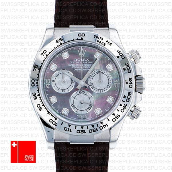 Rolex Cosmograph Daytona Black Leather MOP Dial with Diamond Watch