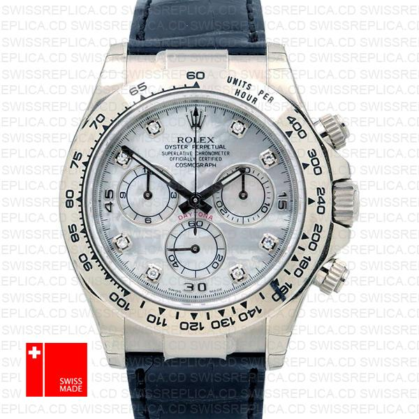 Rolex Cosmograph Daytona Diamond Mop White Dial Leather Strap Watch