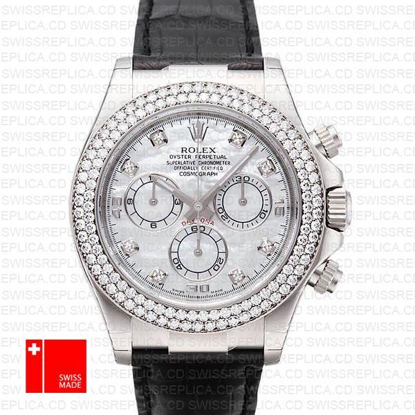 Rolex Cosmograph Daytona White Mop Dial | Rolex Diamond Bezel Watch