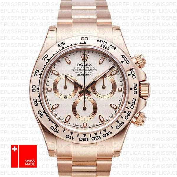 Rolex Daytona Rose Gold Ivory 116505 Swiss Replica