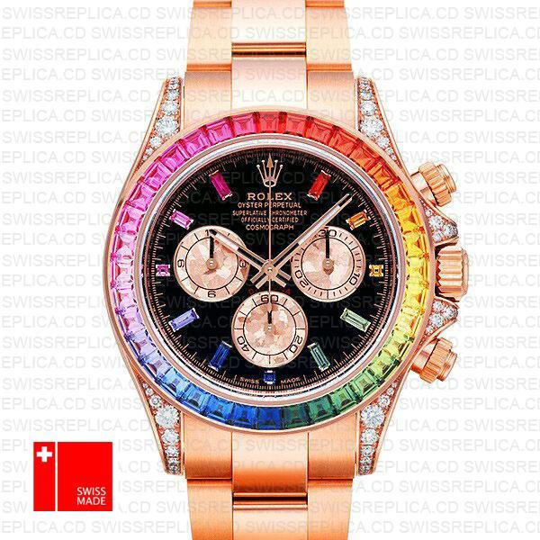 Rolex Daytona Rainbow Bezel Black Gem Dial | Rose Gold Replica watch