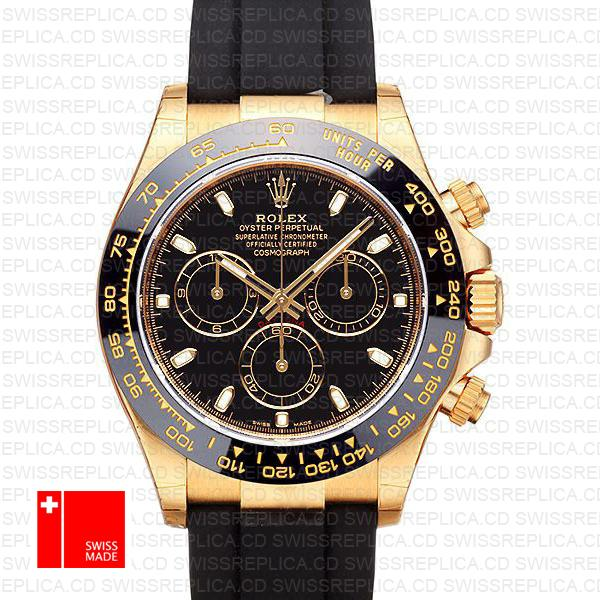 Rolex Daytona Cosmograph Watch: 18k Gold Leather Strap & Black Dial
