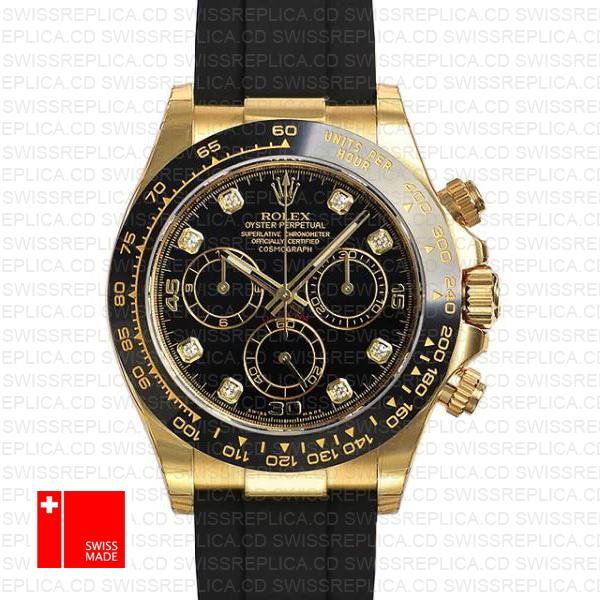 Rolex Daytona Rubber 18k Yellow Gold Ceramic Bezel Black Diamond Dial 40mm 116518