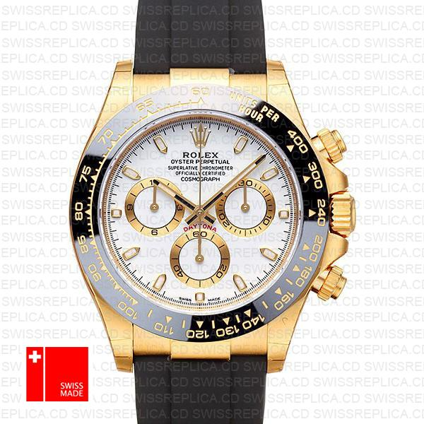 Rolex Daytona Rubber 18k Yellow Gold Ceramic Bezel White Dial 40mm 116518