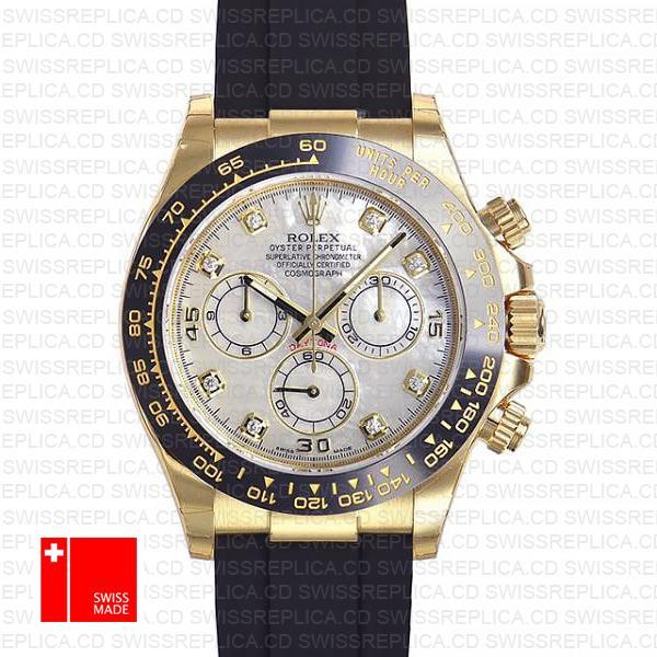 Rolex Cosmograph Daytona 18k Gold & White MOP Diamond Dial Watch