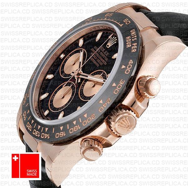 Rolex Daytona Rubber Rose Gold Black Ceramic 40mm 116515 Swiss Replica