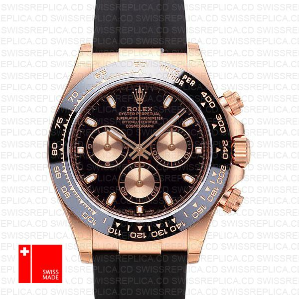 Rolex Daytona 18k Rose Gold & Black Dial 40mm Swiss Replica Watch