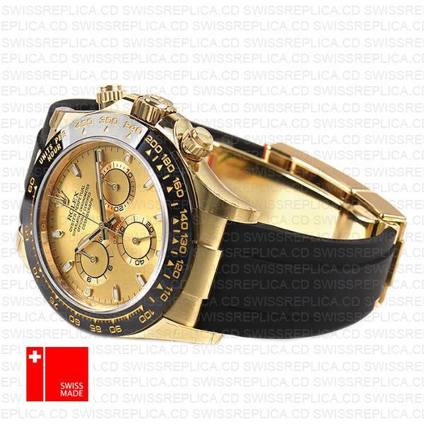 Rolex Daytona Rubber Yellow Gold Ceramic Bezel Gold Dial 116518ln Swiss Replica