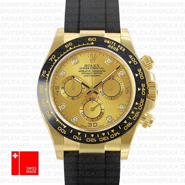 Rolex Daytona Rubber Yellow Gold Ceramic Bezel Gold Siamond Dial 116518ln Swiss Replica
