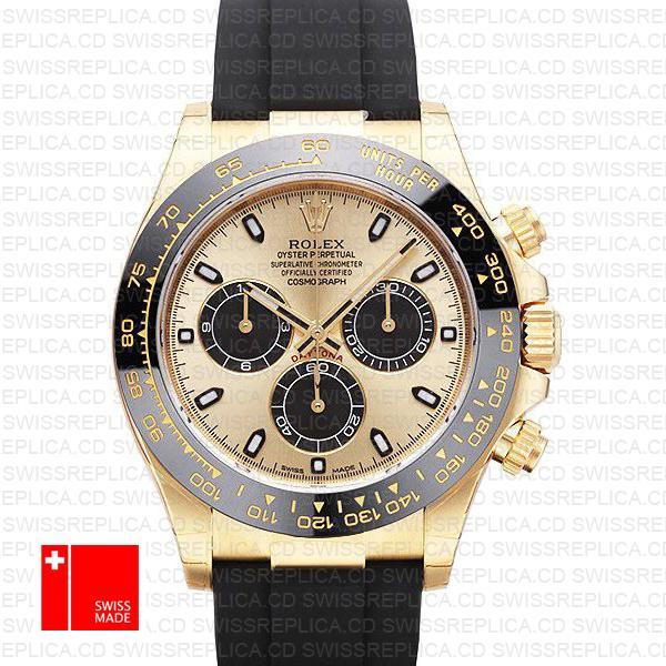 Rolex Daytona Yellow Gold Panda Dial | 904L Steel Swiss Replica Watch