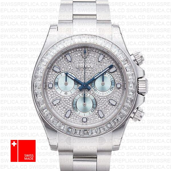 Rolex Daytona Ss Platinum Diamonds 50mm 116576 Swiss Replica