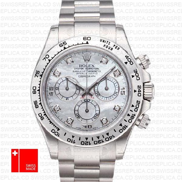 Rolex Cosmograph Daytona 18k White Gold Diamond Dial | Rolex 116509
