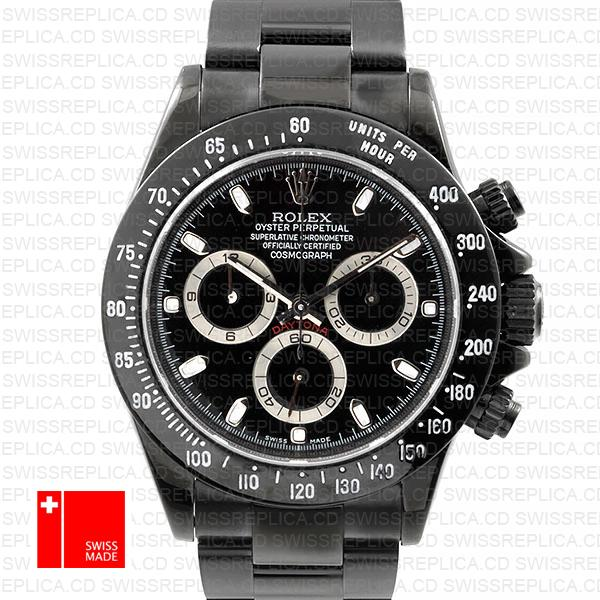 Rolex Cosmograph Daytona Dlc Black Dial & Stick Markers Replica Watch