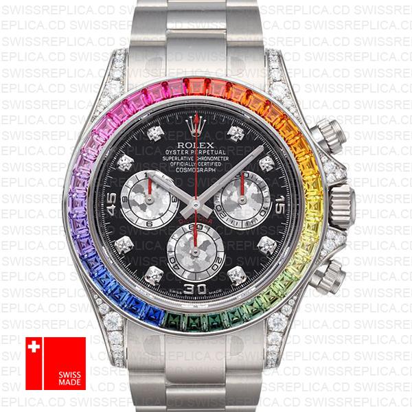 Rolex Cosmograph Daytona Rainbow Bezel Diamond | White Gold Watch