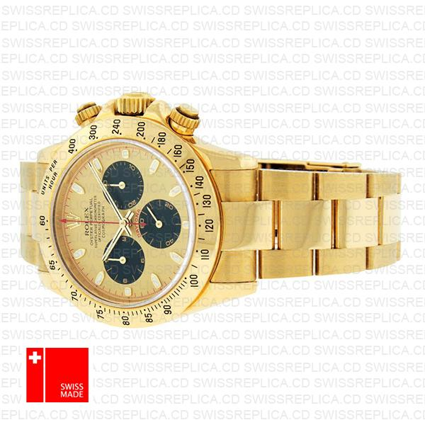 Rolex Daytona Yellow Gold Gold Dial Black Subdials Swiss Replica 40mm 116528