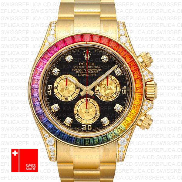 Rolex Cosmograph Daytona Rainbow Bezel | 18k Gold Replica Watch