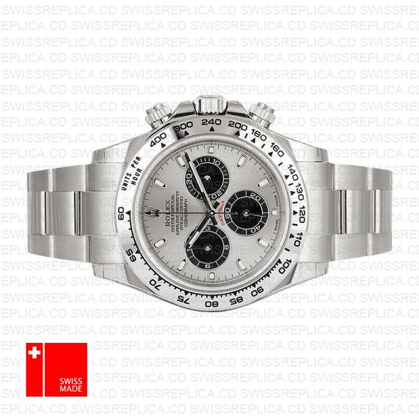 Solid Rolex Daytona 18k White Gold Steel Dial 40mm 116509
