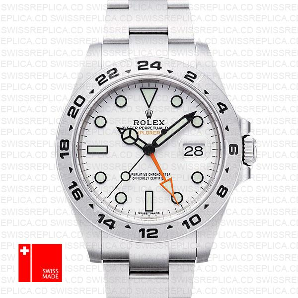 Rolex Explorer II White Dial & 904l Stainless Steel | Swiss Replica Watch