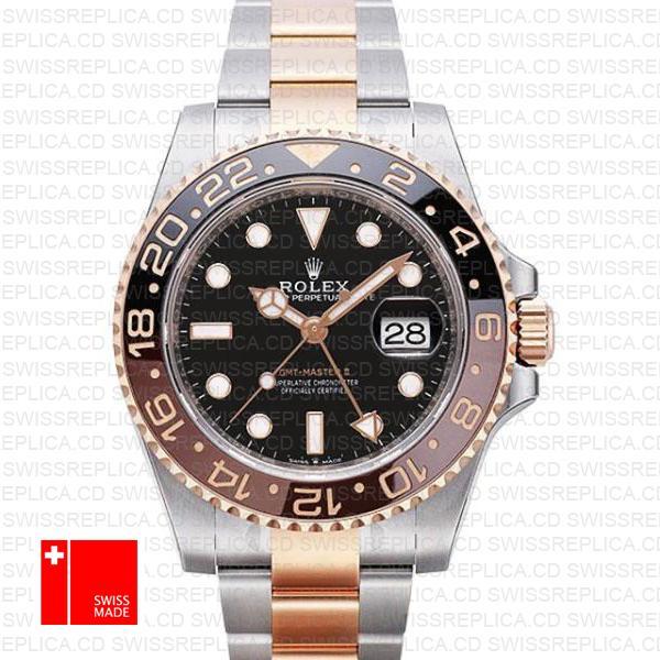 Rolex Gmt Master Ii 18k Rose Gold 2 Tone Oyster Ceramic Bezel Black Dial 126711chnr 40mm
