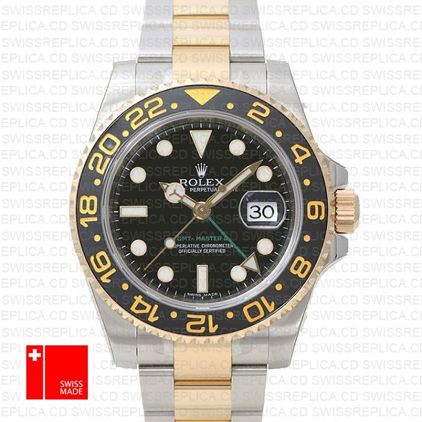 Rolex Gmt Master Ii 2 Tone Black Ceramic 40mm Oversized 116713
