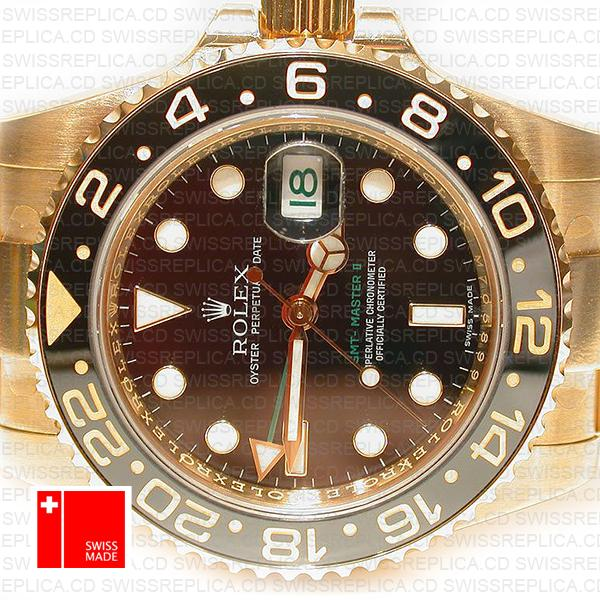 Rolex Gmt Master Ii Gold Black Ceramic 40mm Oversized 116718 Swiss Replica