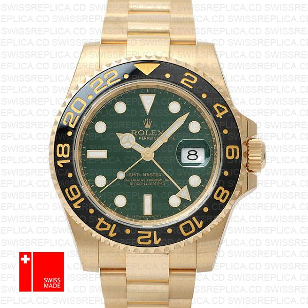 Rolex GMT Master II Yellow Gold Green Dial | Best Swiss Replica Watch