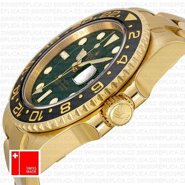 Rolex Gmt Master Ii Gold Green Ceramic 40mm Oversized 116718 Swiss Replica 2