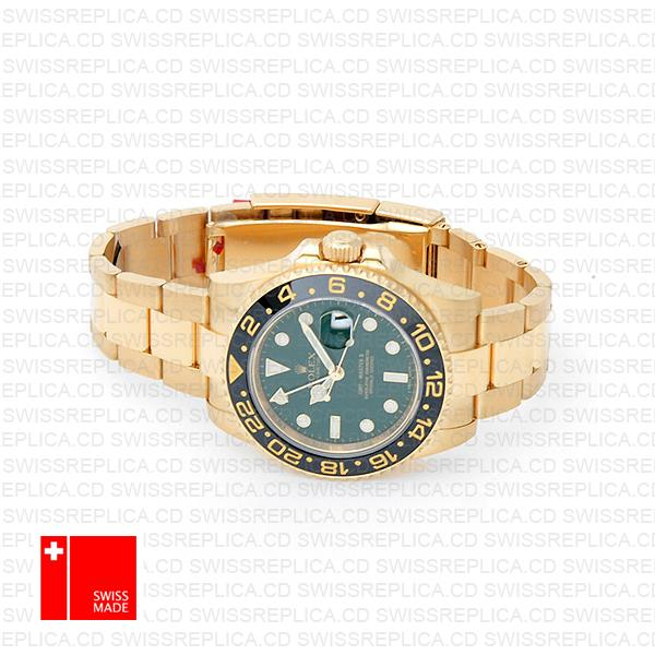 Rolex Gmt Master Ii Gold Green Ceramic 40mm Oversized 116718 Swiss Replica