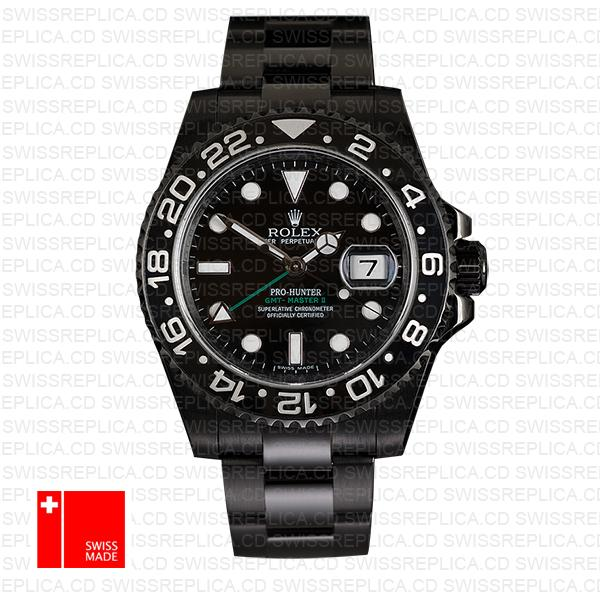 Rolex Gmt Master Ii Pro Hunter Dlc Black Ceramic 40mm Oversized 116710 Replica