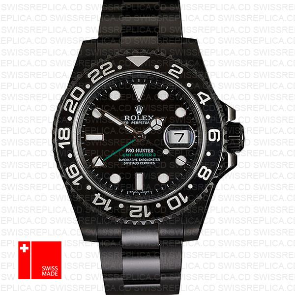 Rolex Gmt Master Ii Pro Hunter Dlc Black Ceramic 40mm Oversized 116710 Swiss Replica