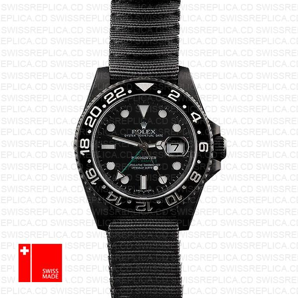 Rolex Gmt Master Ii Pro Hunter Dlc Black Ceramic Nato Strap 40mm Oversized 116710 Swiss Eplica
